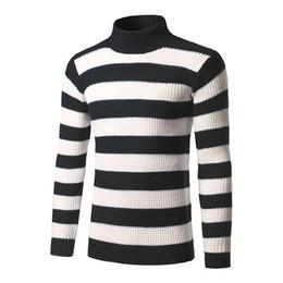 Raya de manga larga para hombre online-Mens Bold Stripe Sweaters 3 colores Slim Fit cuello de tortuga manga larga prendas de punto para el otoño invierno envío gratis