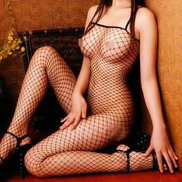 Corpi di rete online-Sexy rete nera calza del corpo Crotchless Fishnet aperto della biforcazione della biancheria degli indumenti