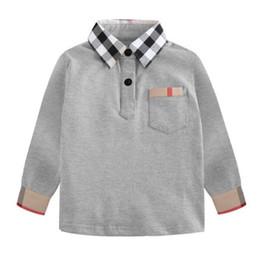 2019 niños camisetas de invierno Venta caliente gris bebés niños camisetas cómodo 100% algodón polo niños ropa moda a cuadros manga larga camisa