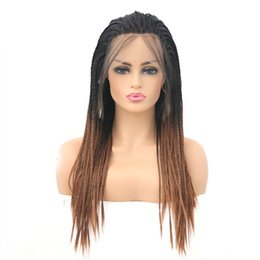 Parrucche frontali piccole online-T colore gradiente colore davanti parrucca pizzo tre fili capelli lunghi piccola treccia parrucca copricapo jooyoo