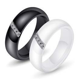 simple gifts band Coupons - Size 6 7 8 9 10 nano ceramic ladies ring width 6mm simple trend titanium steel white black inlaid zircon ring