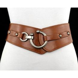 Cinghie elastiche rosse online-Nuova cintura Cintura elastica da donna Cinture in pelle PU elastico largo Ragazza Ceinture Cinture da donna nero marrone rosso