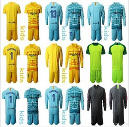 camisetas de portero juvenil Rebajas 2019-20 New Youth Long Ter Stegen Goalkeeper Jerseys Kids Kit Soccer Sets Ter Stegen Kids Boy Neto Goalkeeper Jersey Uniform