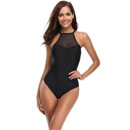 616b9ef8f0b32 Black Mesh Sling Bikini Set Womens Sexy One Piece Swimsuit Low Back Push Up Swimming  Bathing Suit High Neck Swimwear Off Shoulder Beachwear