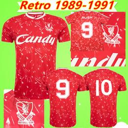 Antiquités thaïlandaises en Ligne-Maillot Liverpool jersey # 9 Rush # 10 Barnes 1989 1990 1991 Maillots de foot RETRO 89 90 91 Les classiques commémorent Aldridge Cousins Beardsley soccer shirt camiseta football