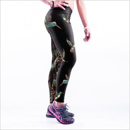 leggings bird print Promo Codes - Woman Sport Leggings Birds&Black Summer Plus Size Fitness Sportswear Leggings High Waist Workout Elastic Pants Hot-009.19