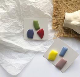Pregos acrílicos doces on-line-Popular Moda Morandi Orelha Nails Brincos Acrílico Acetato de Irregular Irregular Geometria Candy-colored Orelha Abraçadeiras de Orelha Jóias Feminino
