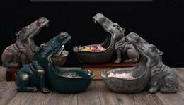 gute bürobeleuchtung Rabatt Nilpferd Statue Harz Nilpferd Figur Skulptur Tisch Dekor verschiedene Container