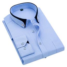 Camicie viola scozzese online-2019 Primavera Uomo Camicia a maniche lunghe a quadri Plaid maschio Camicia Business Abbigliamento formale Uomo blu Camicie viola 5XL