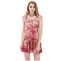 Donne Billowing Dress Leaf 3D Digital Full stampato ragazza elastica Casual pieghe abiti da parasol Lady senza gonna grafica (RSkd1182) cheap leaf dresses da vestiti da foglia fornitori