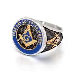 Gold freimaurerei klingelt online-2019 neue blau mode silber gold farbe männer freimaurer ring casting titanium edelstahl freimaurerei freimaurer ringe für männer schmuck