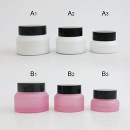 Матовое розовое стекло онлайн-500PCS 15G 30G 50G Пустой Перезаправляемые Frost Розовый Белый косметический крем Стеклянная бутылка Наклонный Плечи макияж бальзам Jar