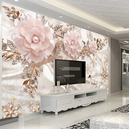 chinesische wandschnitzereien Rabatt Benutzerdefinierte Fototapete 3D Luxus Europäischen Stil Swan Schmuck Blumen Wohnzimmer TV Hintergrund Wand Dekor Wandbild Papel De Parede