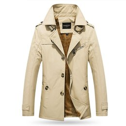 Männer kaschmir langen graben online-Die beiläufige Jacke der Wintermänner im langen Kaschmir verdickte Baumwolltrenchcoat-Männer Mantel M-5XL 5color freies Verschiffen