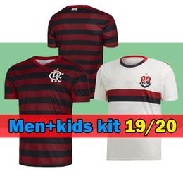 трикотажные изделия футбола красного цвета Скидка новый 19 20 фламенго трикотаж дети XXL GUERRERO DIEGO VINICIUS JR Футбольные майки Flamengo home красный красный черный футболка футболка Бразилия дети