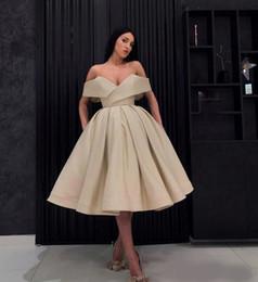 Robes gris pas cher en Ligne-Robes de cocktail pas cher robe de soirée femmes arabes hors l'épaule robe de bal thé longueur robe de bal moyen-orient formelle occasion spéciale robes