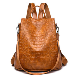 рюкзак из крокодиловой кожи Скидка 2019 Women Anti-theft Backpacks Vintage Crocodile Leather Shoulder Bag Ladies School Travel Bags Female Casual Daypacks Mochilas
