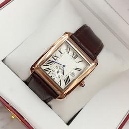 Canada 2019 Montre-bracelet de luxe pour homme en cuir carré avec date de haute qualité en acier noir / marron en cuir homme montres livraison gratuite Offre