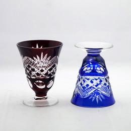 rubinrote kristallgläser Rabatt Bohemian Czech Cut Ruby Red Crystal Stems Kelche Weingläser Weißweinglas Sake Cup im japanischen Stil zu löschen