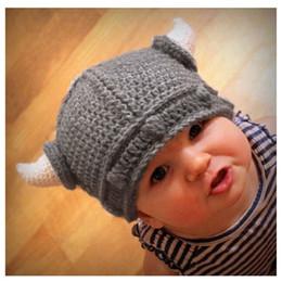 Yeni Sevimli Çocuk El yapımı Tığ Kış Sıcak Hat Viking Kornalar Şapka Sevimli Çocuk Örme Beanies Örme nereden