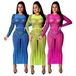 Vestidos azul bronceado online-Mujeres Sheer Party Bdoycon Vestidos Sexy Tan Color de la raya de malla impresa de cuello redondo de manga larga Midi Club vestido azul verde rosa rojo