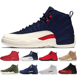 polyester cotton hot Coupons - Hot 12 12s Gym red Michigan Bulls mens Basketball shoes Flu Game UNC Wings The Master Taxi men sports sneakers designer trainers 5.5-13 #1