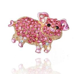 Vente en gros - Nouveaux bijoux de mode Belle Animal Rose Porc Strass Broches Pour Femmes Fille Écharpe Broche Broche ? partir de fabricateur