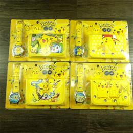 кошелек пикачу Скидка Горячие Pokemons часы кошелек набор Pikachu кошелек мультфильм электронные часы цифровые указатели детский подарок студенту подарок детям