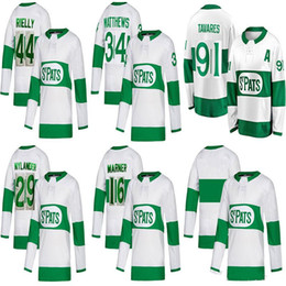 2019 camisas de hóquei verde em branco 2019 Toronto Maple Leafs Camisas de patches de ST 16 Mitchell Marner 44 morgan rielly 29 william nylander Camisolas de hóquei alternativo em branco verde branco camisas de hóquei verde em branco barato