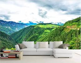 Papéis de parede verdes simples on-line-3d papel de parede personalizado foto HD paisagem verde montanhas paisagem simples e bonita Nordic parede de fundo papel de parede para paredes 3 d