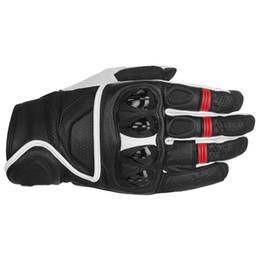 Guantes blancos de moto online-Celer Guantes cortos de cuero negro / rojo / blanco para motos deportivas Moto Touring Conducción