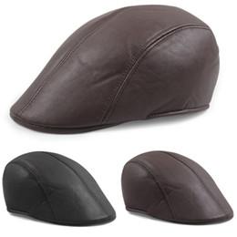 newsboy di berretti in pelle Sconti Cappello vintage da uomo in pelle piatta Ivy Caps Newsboy gatsby Bonnet Cabbie Biker Beret Hat