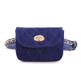 Денежные цепочки онлайн-2019 Newest Women Velvet Waist Bag Female  Chain Belt Waist Packs Retro Mini Plaid Money Phone Fanny Pack