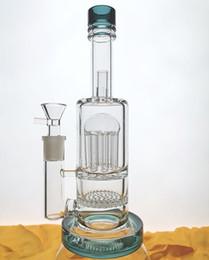 2019 balde de balanço da plataforma Recipiente de fundo Bicker Muito Grosso Bongo de vidro Queimador de óleo de tubo Duplo Favo de Mel Perc 8Arm Perc Aquecedor de óleo de Tubo de Água 14.4mm conjunta