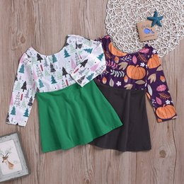 girls long cotton skirts Promo Codes - Baby Girls Printed Dress Halloween Pumpkin Long Sleeve Dress Infant Baby Girl Designer Clothes Kids Cotton Floral Splice A-Line Dress Skirt