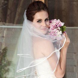 Argentina 2020 Velos de novia de tul cortos simples Velo de novia de marfil blanco barato para la novia para el matrimonio Accesorios de boda Suministro
