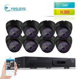 домашние кинотеатры Скидка Eyessys 8 шт. водонепроницаемый купол 1080p 2.0 MP домашней безопасности IP-камера 8CH NET DVR Poe системы видеонаблюдения комплект черный бесплатно