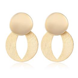 joyas de oro Rebajas Pendientes de gota de oro para las mujeres Shineland Jewlry Metal geométrico redondo colgante pendientes Vintage cuelga N45