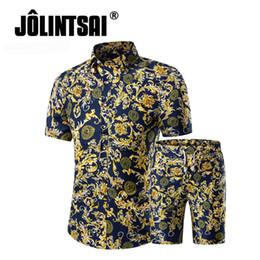 nuova tuta sportiva sottile Sconti 2017 nuova estate marchio di moda shirt + pantaloncini set uomo manica corta camicie stampa floreale Slim Fit Tuta Plus Size 5XL