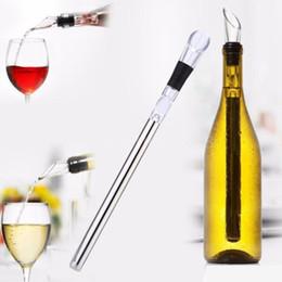 2019 enfriadores de acero inoxidable Enfriadores de vino Stick Enfriadores de botellas de acero inoxidable Chill Wine Chill Cool Stick Rod con Wine Pourer EEA281 enfriadores de acero inoxidable baratos