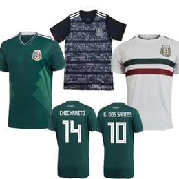 México futebol jérseis preto on-line-Novo 2019 México H. OLZANO CHICHARITO verde home longe branco preto camisa de futebol dos homens 19 20 G.DOS SANTOS R.MARQUEZ C.VELA camisas de futebol 2020