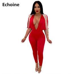 d3568203c46 Women Beading Pearl V-neck Jumpsuit Sexy Bodycon Romper Clubwear Outfit  Woman Overalls Elegant Party Jumpsuit Office Ladies