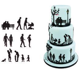 biscotti animali Sconti Strumenti di decorazione di torta Stampi di fondente Set Famiglia di plastica Cookie Cutter Pasticceria Biscuit Baking Pasticceria Music Stampo animale palloncino