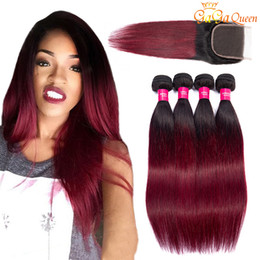 99j closure Promo Codes - Ombre 1b 99j Brazilian Straight Hair Bundles With Lace Closure 1b Burgundy Lace Closure With Human Hair Bundles New Arrival