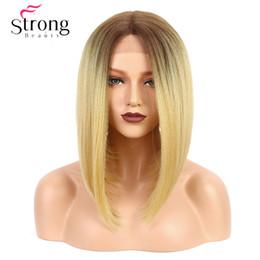 Parrucca media davanti in pizzo Yaki dritto Bob taglio di capelli resistente al calore / Medio U parte naturale Ombre bionda parrucca sintetica femminile da