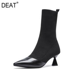 Tacones agudos online-[DEAT] 2019 Nueva Primavera Verano Sharp Toe Mixed Colors Knitting Pu Leather Single Women Strange High Heels Boots Moda 10SJ319