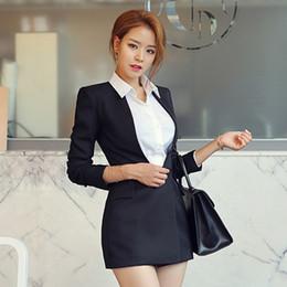 f8d0ce5d2de 2019 элегантные черные женские костюмы Офис дамы тонкая талия черные женщины  длинный пиджак пуговицы элегантный женский