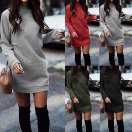 warme kleidung sexy Rabatt Winter-Frauen-beiläufige O-Ansatz Warmes Strickkleid weibliche lange Hülsen-Strickjacke-Kleid Herbst Kleidung Sexy festes Wollkleid