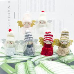 2019 bonecas de pano de natal Bonito Natal Asas de Anjo Pingente de Árvore De Natal Pano Enfeites de Festa de Boneca Ornamentos Para Casa Xmas Brinquedos De Pelúcia Caçoa o Presente desconto bonecas de pano de natal