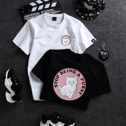 fcd971280e Diseñador de verano Camisetas Mujer Nuevo Lindo Gato Imprimir Camisas para  Mujeres Casual Tops de las mujeres Camisetas Relax Ropa S-2XL